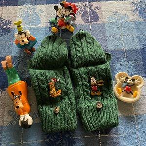 Disney Fingerless w/mit cover Mickey/Pluto gloves